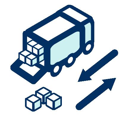Un camion descargando cajas