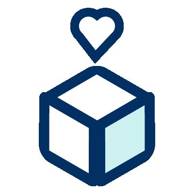 Un icono de un caja con un corazón encima