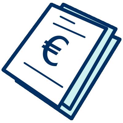 Un icono de unos documentos con el símbolo del euro encima